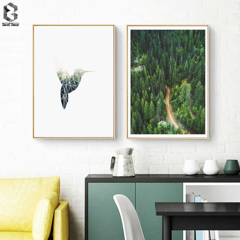 WALL Forest Plant Leaves Poster Print Landscape Wall Art Geometric Bird Canvas Painting Picture for Home Decoration Green Decor