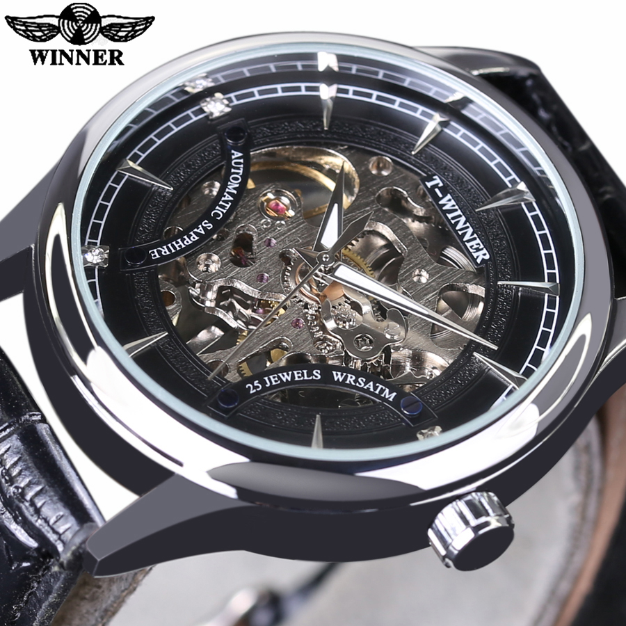 steampunk mechanical strap leather automatic wristwatch skeleton masculino relogio transparent dress product watches mens genuine