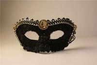 Black lace half face boys mask party stage masks party men's minimalist mask