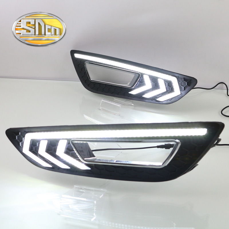SNCN LED Daytime Running Light For Ford Focus 2015 2016,Car Accessories Waterproof ABS 12V DRL Fog Lamp Decoration sncn led daytime running light for ford f 150 svt raptor 2010 2014 car accessories waterproof abs 12v drl fog lamp decoration