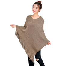 Loose Knitted Cashmere Tassel Poncho Women Khaki Red Gray Twill Cloak Korean Style Shawl Cachecol Poncho Feminino Inverno(China)