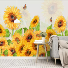 Nordic minimalist small fresh hand painted sunflower flower watercolor background wall