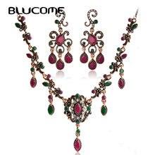 Blucome Turco Cadenas Colgantes De Resina Gargantilla Collar Pendiente de la Flor Establece Rojo Mujeres de La Vendimia de La Boda Perlas Africanas Joyería Conjunto
