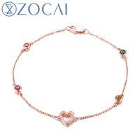 ZOCAI 2014 New Arrival Heart Shape 0 26 Ct Natural Genuine Diamond 0 06 Ct Tourmaline