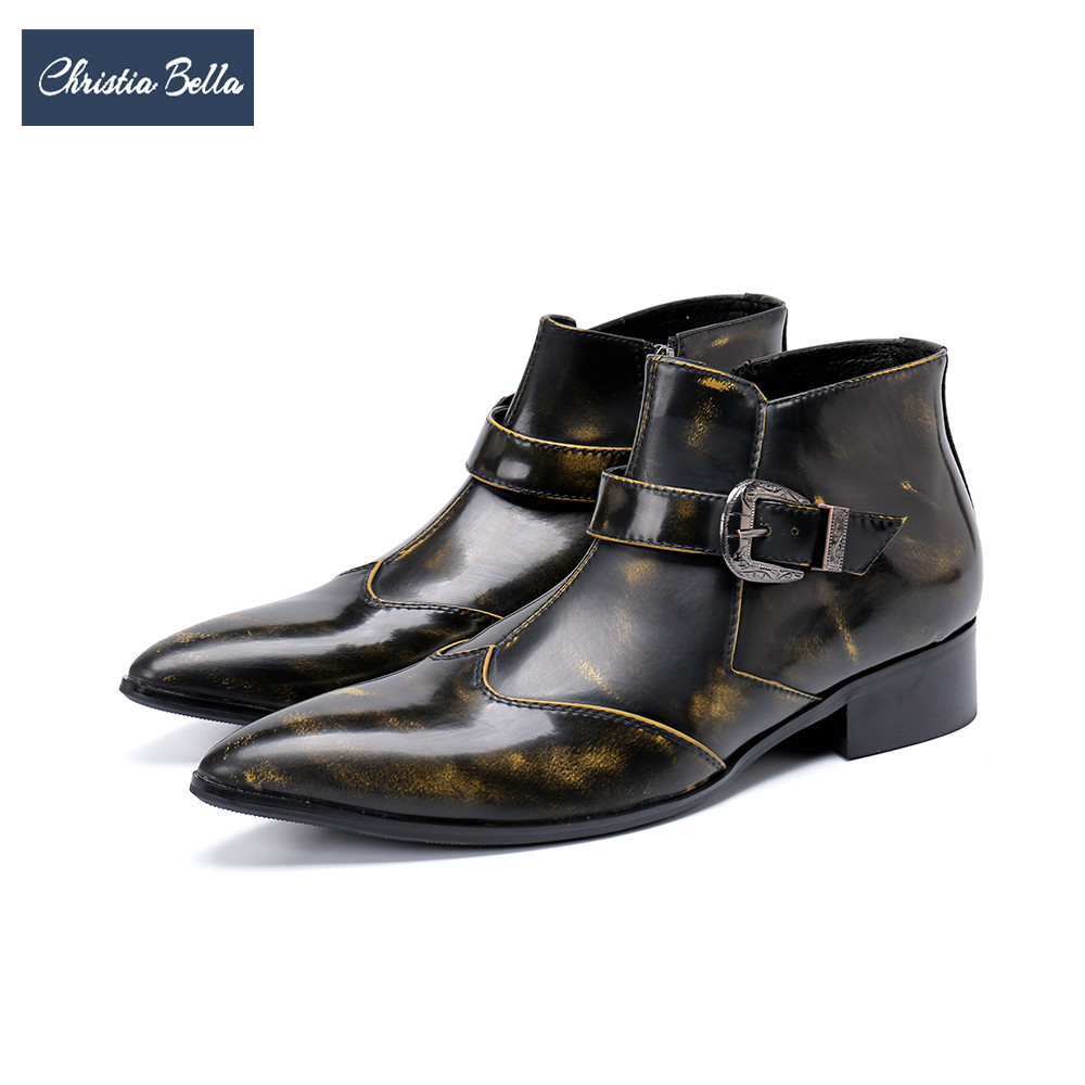 Christia Bella 2019 British Handmade Men Boots Autumn Winter Men Genuine Leather Boots Plus Size Party Dress Ankle Boots BrownChristia Bella 2019 British Handmade Men Boots Autumn Winter Men Genuine Leather Boots Plus Size Party Dress Ankle Boots Brown