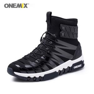 Image 3 - ONEMIX 2019 גברים מגפי נעלי ריצה לנשים סניקרס גבוהה למעלה חורף שלג מגפיים חיצוני עמיד למים הליכה טרקים נעל