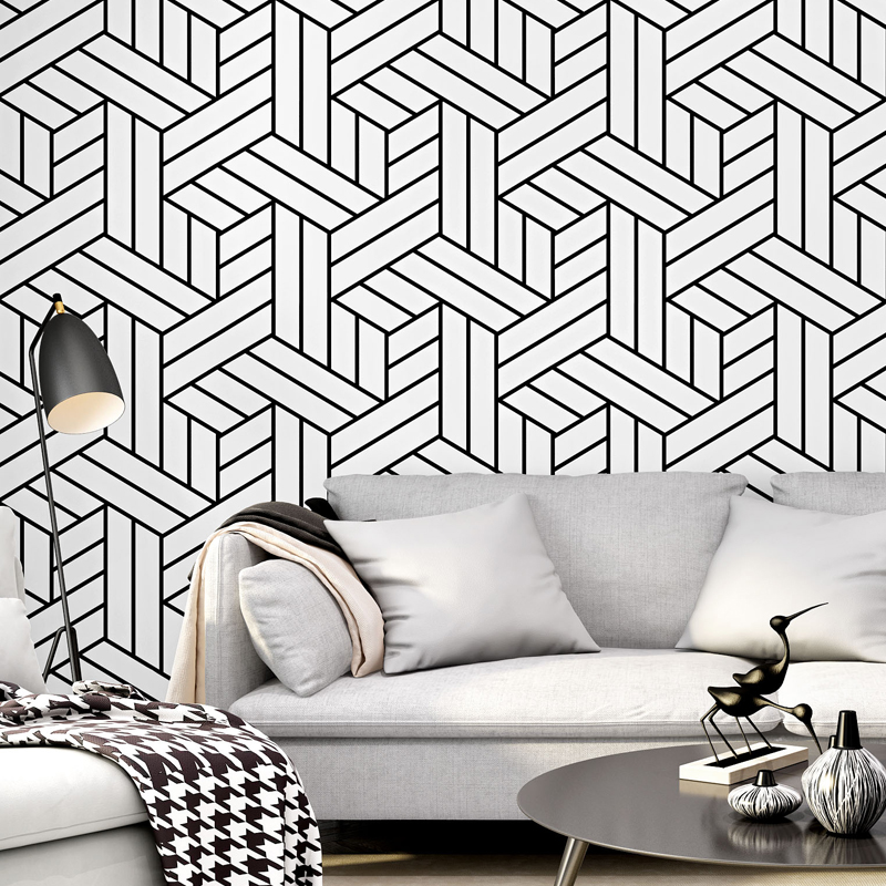 Nordic Abstract Pattern Black White Stripes Wallpaper Roll Modern Fashion Living Room TV Background Bedroom Wallpapers