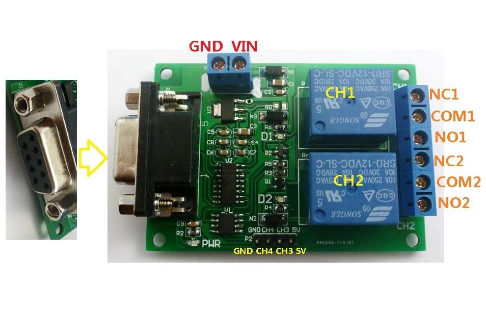 UART Modulo rel/è seriale 12 V 4 Ch DB9 RS232 per motore auto