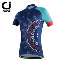Ladies' Navy Cheji Brand Cycling Jersey Top Bicycle Maillot Bike Wear Top Womens MTB Clothes Cycle Shirts Short Sleeve
