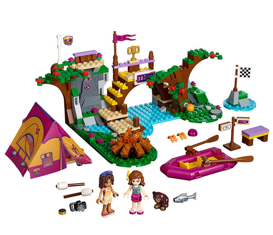 Xinh Friends Series Adventure Camp Rafting Tree Building Blocks Set Model Compatible With LegoINGly Friends For Girls