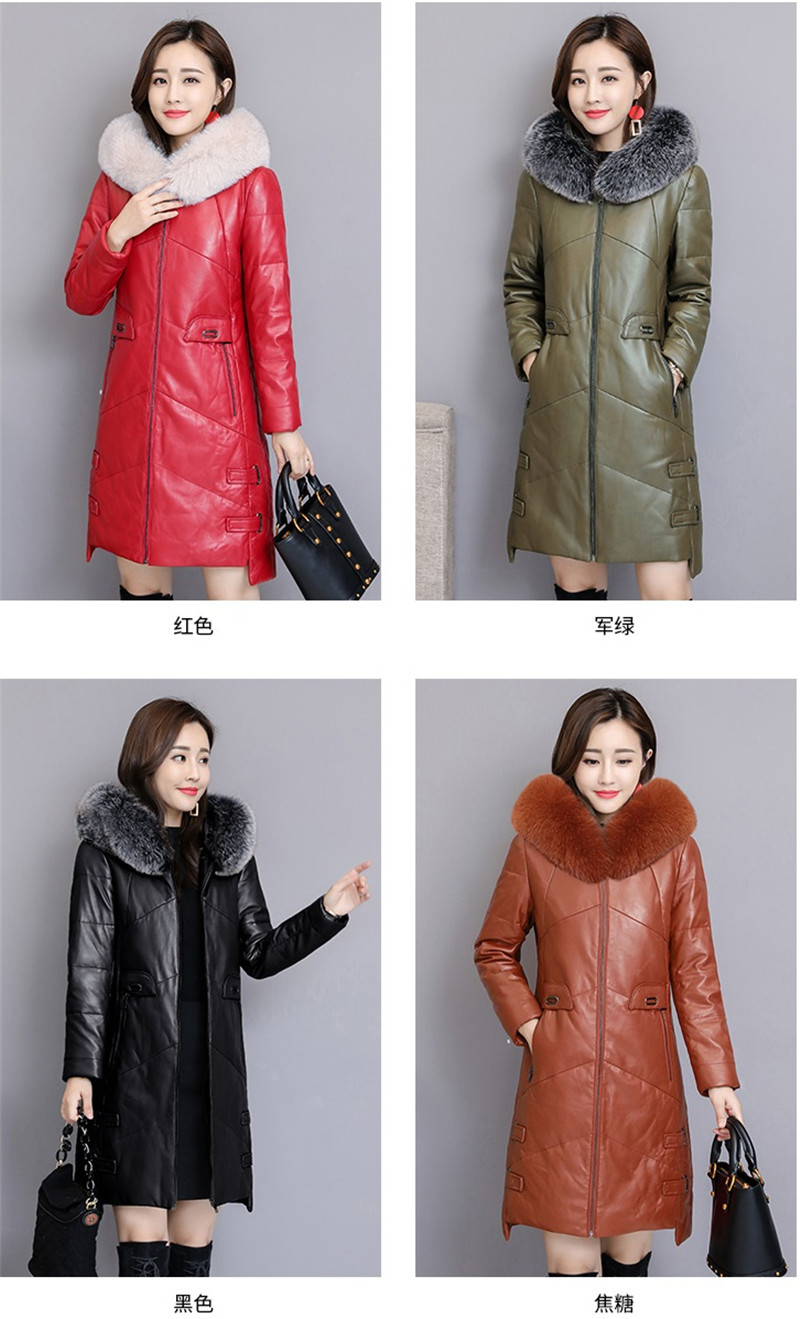 ac95669340a17 Women PU Leather Jacket Winter Down Cotton Coat 2018 Plus Size 4XL ...