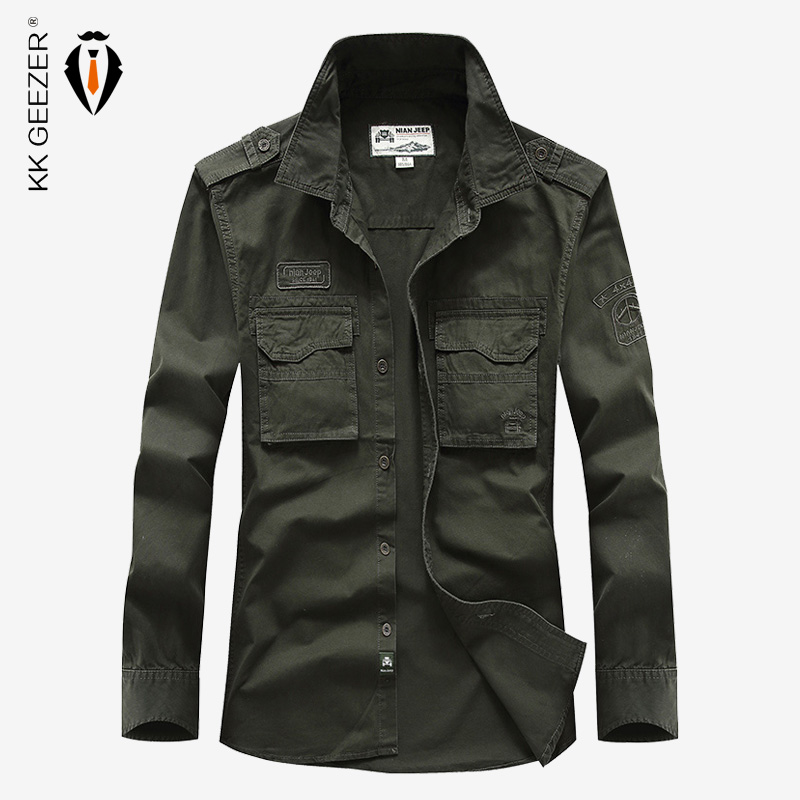 Men Cotton Casual Shirt Business Social Party Dress Shirt Full Sleeve Military ArmyGreen High Quality Spring Famous Brand Loose
