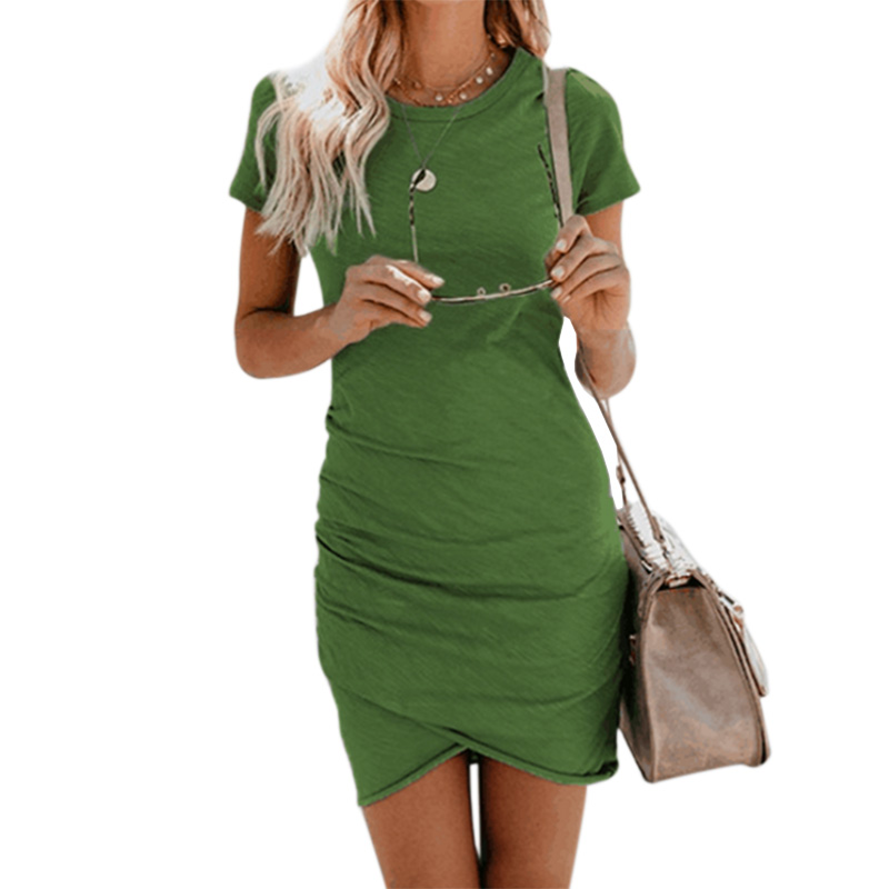 Green Dress Mini Sexy Women Fashion Short Sleeve Solid Color Irregular Bodyco Autumn Dress For Christmas Sales Item Robe Femme