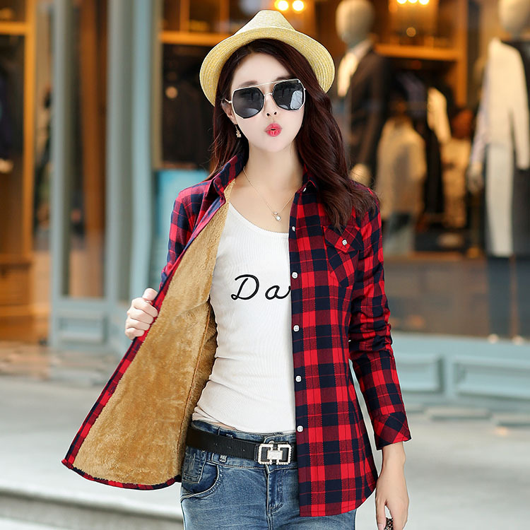 Brand Casual Jacket Women 2018 New Winter Warm Plaid Shirt Style Jacket Female Plus Size Thick Velvet Long Sleeve Warm Coat 1