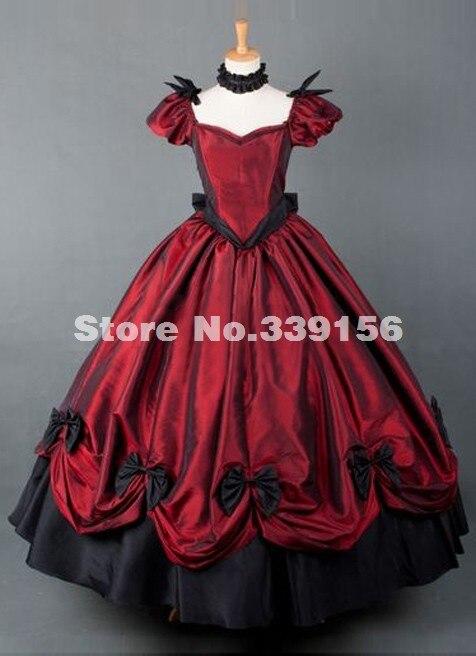 11458 Gran Venta Traje De época Victoriana Roja Renacentista Vestido De Gala Largo Vestido De Guerra Civil In Vestidos From Ropa De Mujer On