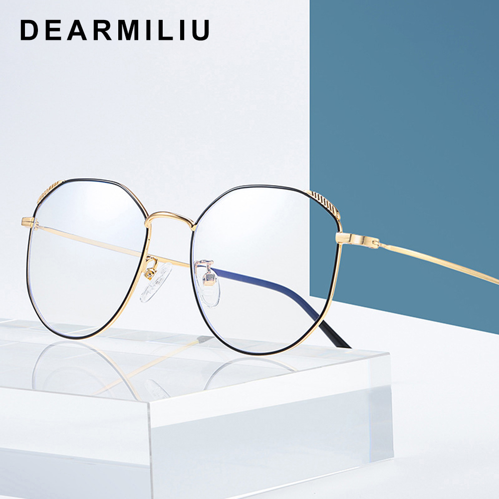 Dearmiliu Oval Rose Gold Frame Anti Blue Light Blocking Glasses Led Computer Reading Glasses Radiation-resistant Gaming Eyewear Refreshing And Enriching The Saliva