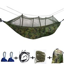 Parachute Cloth Hammock Double Person Portable with Mosquito Net Hammock Camping Travel Hanging Sleeping Bed Hamak Swing Outdoor недорого