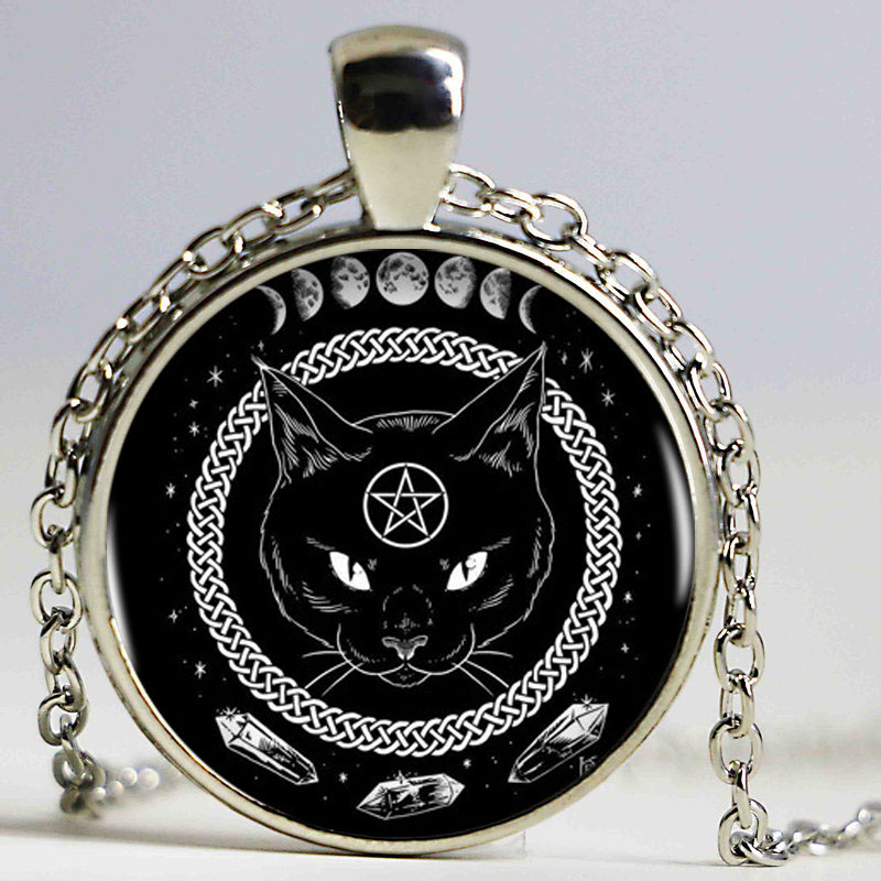 Black Cat Alchemy Phases Of The Moon Logo Women Choker Statement Silver Pendant Necklace For Men Dress Accessories