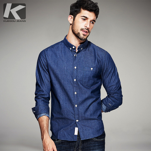 Kuegou Spring Mens Fashion Jeans Shirts 100 Cotton Blue Brand Clothing For Man S Wear Long