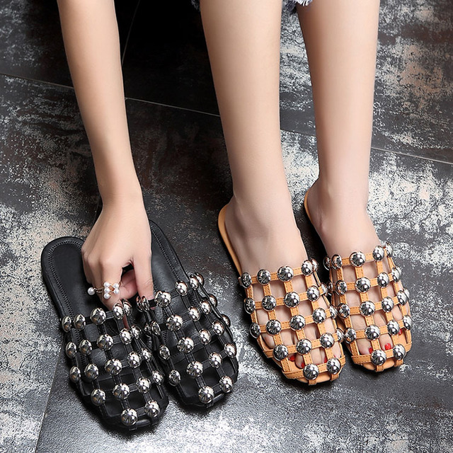 a6c131660 Summer Woman Bling Plated Button Rivets Studded Cross Grids Strappy Slipper  Sandals Closed toe Leisure Street Flat Slide Shoes