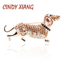 CINDY XIANG Rhinestone Sausage Dog Brooches for Women Small Cute Puppy Brooch Pin New Design Summer T-shirt Style Jewelry Gift