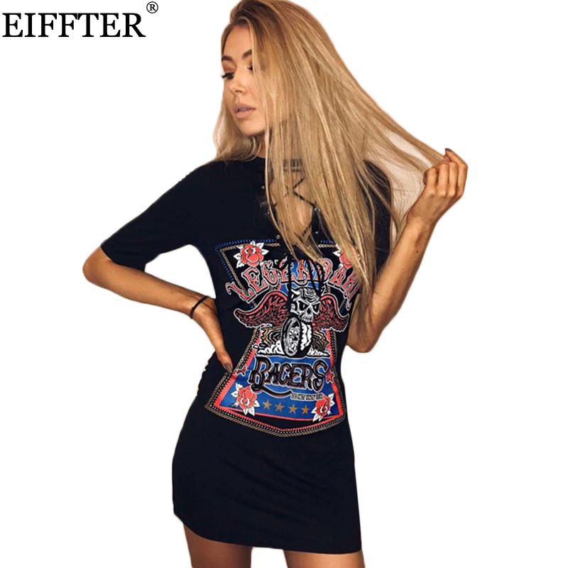 Eiffter verano mujeres vintage print dress nueva señoras de la manera estilo de