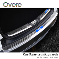 Overe 1PC Stainless Steel Car Rear Trunk Guards Cover Trim For Honda CR V CRV 2017 2018 Decorative Bumper Protector accessories