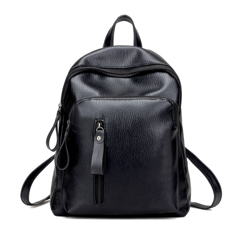 Women Leather Backpack Minimalist Solid Black School Bags for Teenage Girls Preppy Style Backpacks Rugzak Zaino Donna Sac a Dos