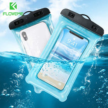 FLOVEME Waterproof Phone Case for iPhone 7 8 Plus XR X Swim Pouch Bag for Samsung S10 Huawei P20 Lite Pouch Swim Waterproof Case(China)