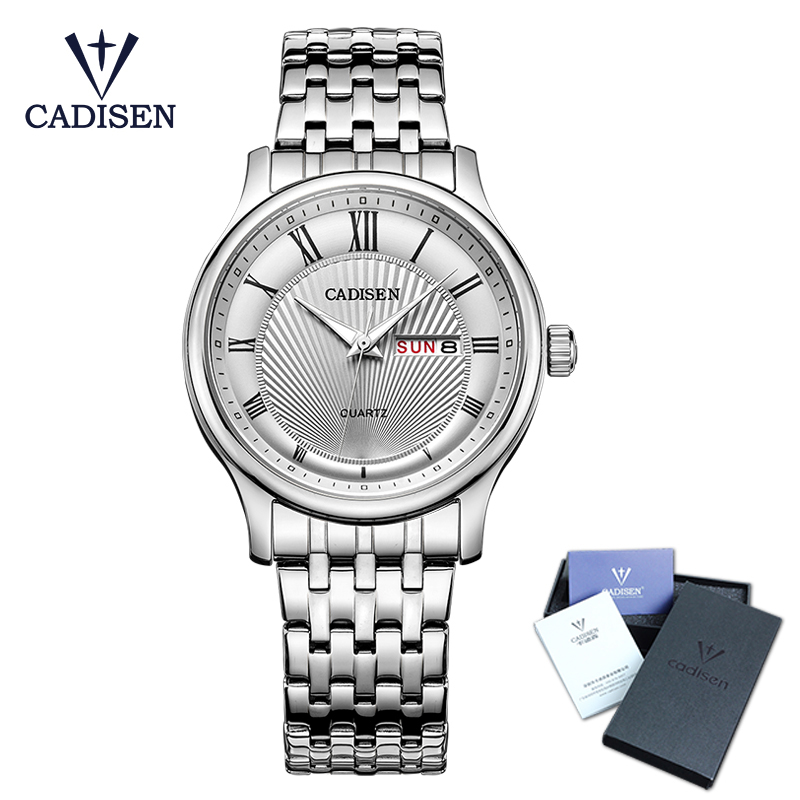 CADISEN Top Mens Watch business fashion simple water resistant Week Display calendar analogue wrist watch stainless steel band все цены
