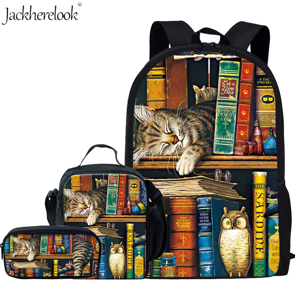 Jackherelook 3Pcs/Set School Bags For Girls Boys Library Book Reader Print Backpack Cute Animal Cat Bookbags Kids Schoolbag