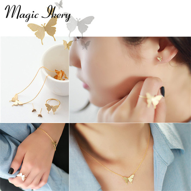 Magic Ikery Brand Customized Luxury Jewelry Sets Gold Plated Imported Fashion Butterfly Fewelry Sets or Women MKHG3008