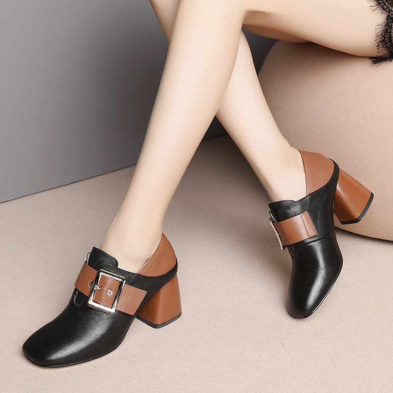Luxury brand name first layer cowhide two deep mouth women 39 s single shoes 2019 belt buckle leather high heeled shoes women in Women 39 s Pumps from Shoes