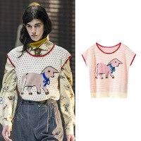 New house of big runway looks female cartoon elephant jacquard coat color shawl sleeveless sweater SA0512