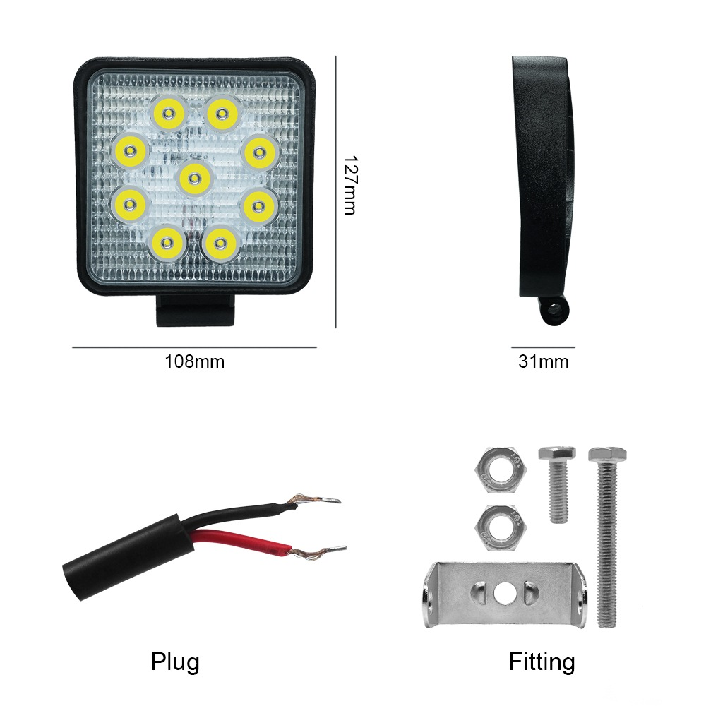Image 3 - Car Work Light 27W LED Square Light 6000k 2700LM Super Bright Outdoor Headlight Bulb Refit Off road Vehicle Roof Strip Light-in Light Bar/Work Light from Automobiles & Motorcycles
