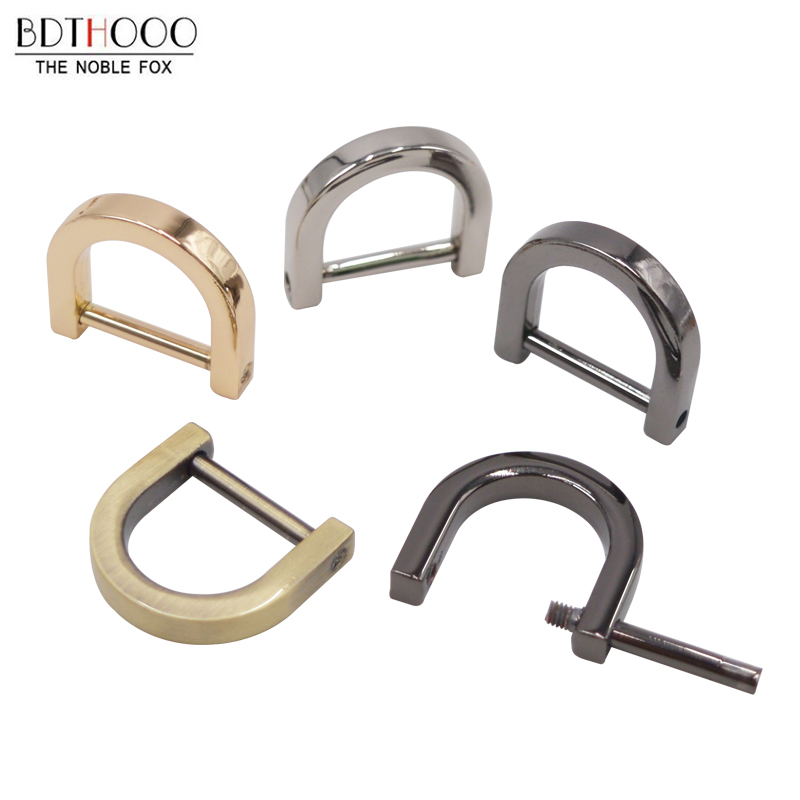 BDTHOOO 10pcs/lot Metal Hook Clasp For Purses Handle Luggage Bags Removable Activity Screw D Buckle For Handbags Hardware