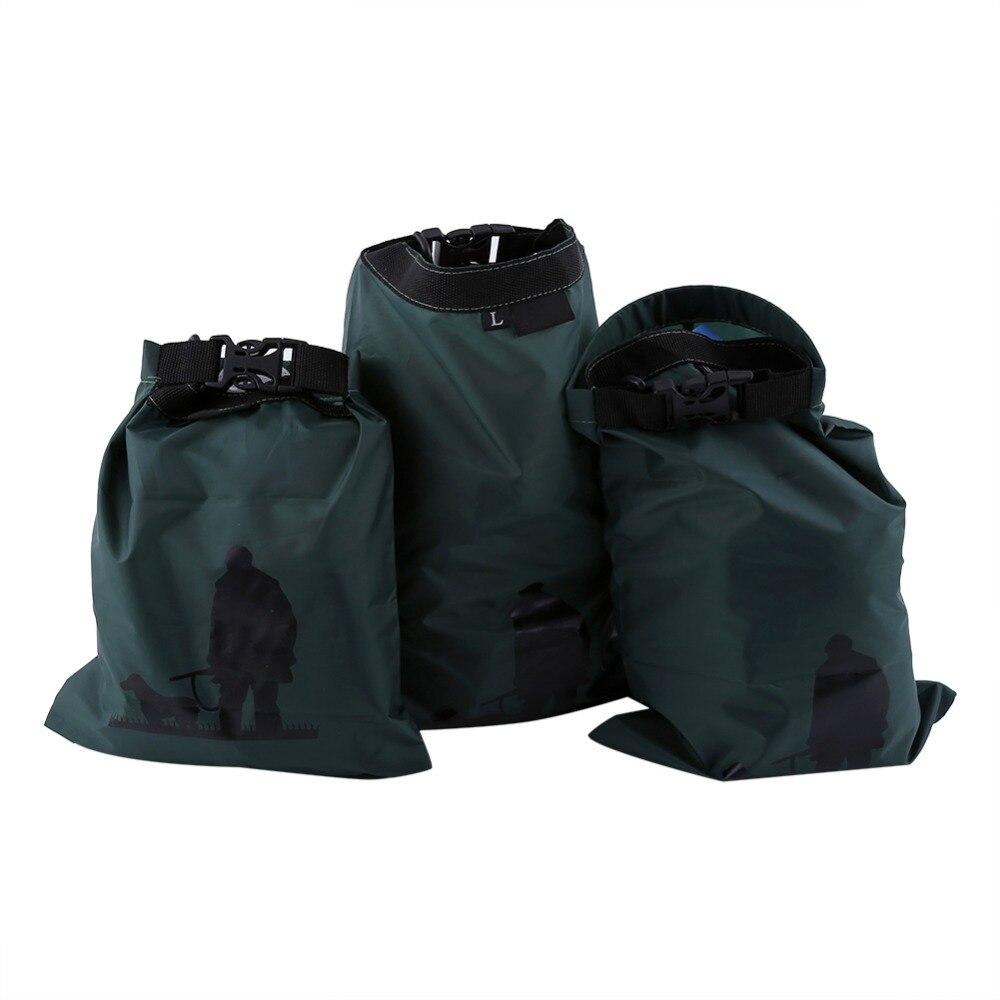 Prix pour 3 pcs/ensemble Vert Nylon Imperméable À L'eau Sac De Rangement pour Voyage Sports de Plein Air Sec Poche Sac Canoë Kayak Rafting Camping Équipement