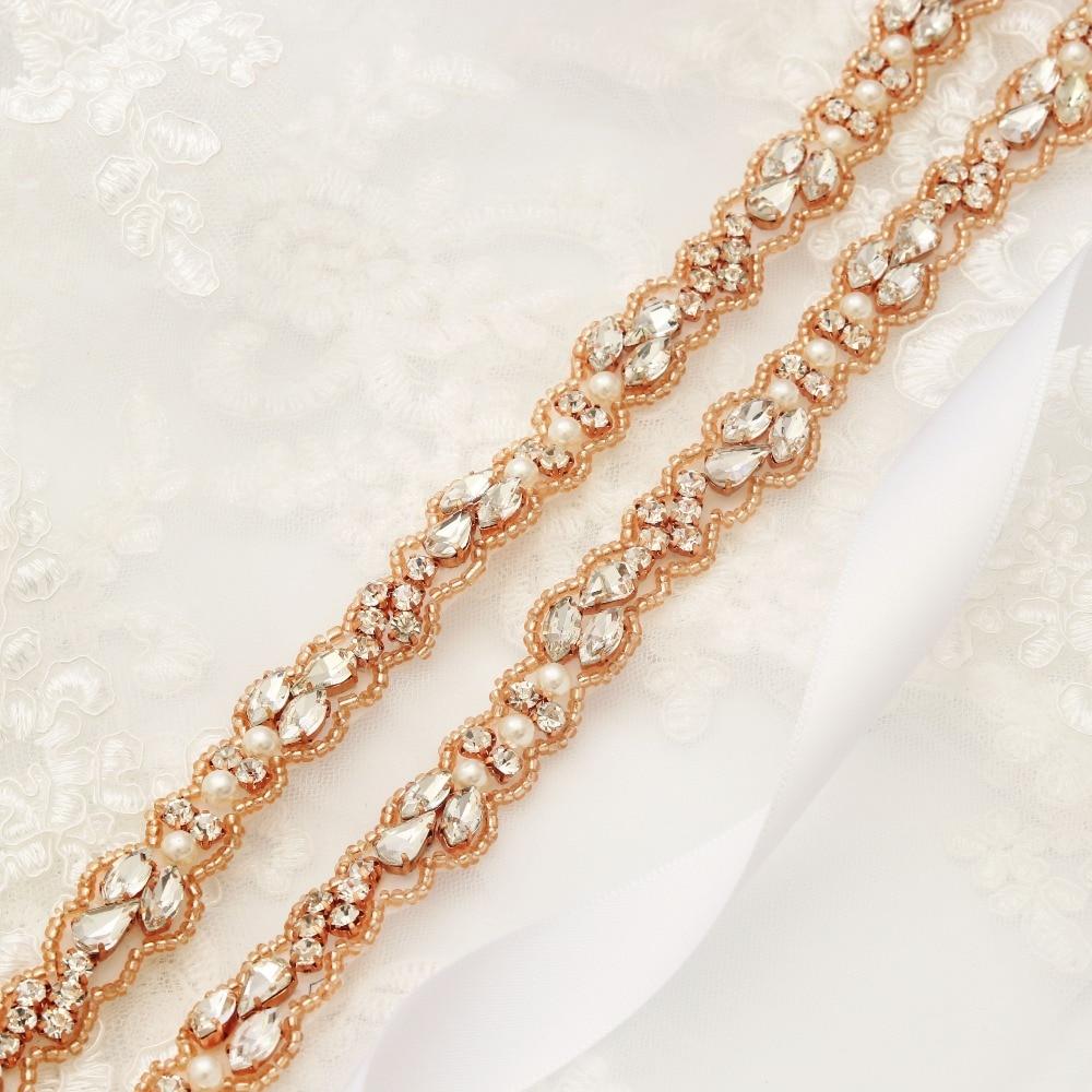 MissRDres Thin Beade Bridal Belt Rhinestones Wedding Dress Sash Rose Gold Crystal Wedding Belt For Bridal Bridesmaid Dress JK883