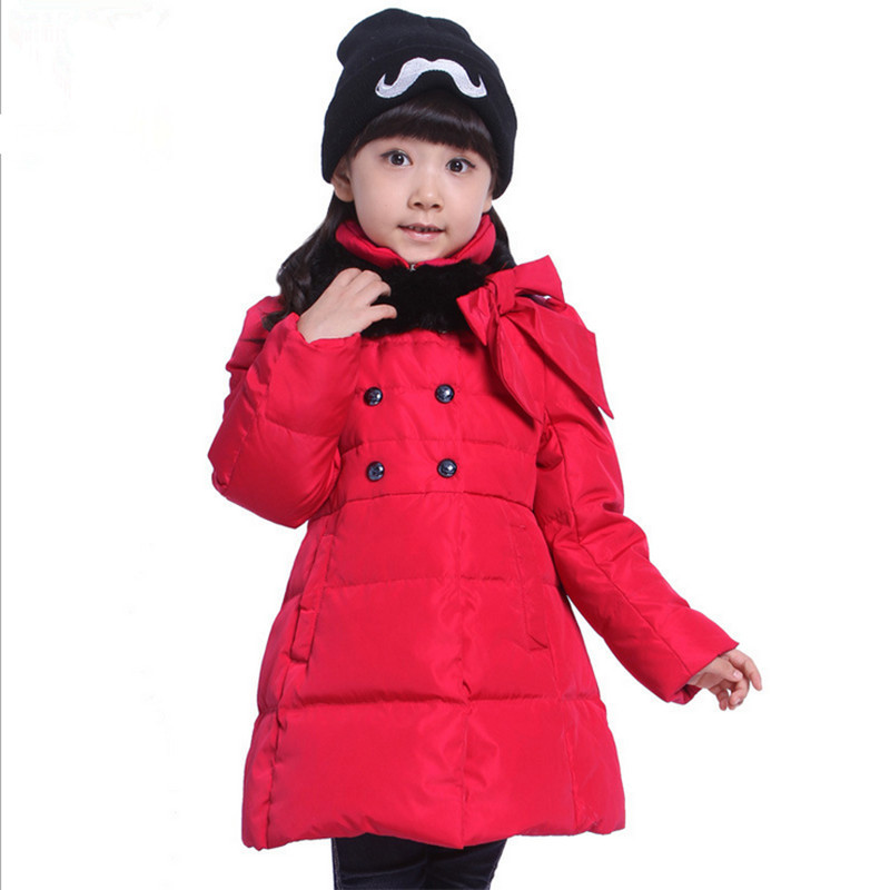 Long thick brand down jacket for girls 2016 winter new girls winter coat fashon hooded fur collar bows zipper parka duck down winter girl jacket children parka winter coat duck long thick big fur hooded kids winter jacket girls outerwear for cold 30 c