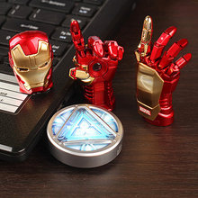 NIEUWE Avengers Iron Man Hand LED Flash Drive 64 GB USB 2.0 Memory Stick Flash Card 128 GB 1 TB 2 TB Pendrive 512 GB Pen Drive Gift sleutel(China)