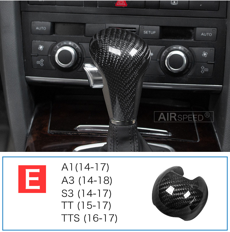Carbon Fiber Gear Shift Knob Cover Head for Audi A4 B9 B7 A5 Q7 A3 S3 A4 B8 A5 C6 A6 C7 C6 S6 A7 S7 A8 Q5 Accessories (12)
