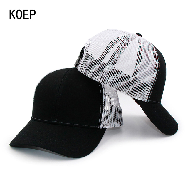 8e8df7c0da6 KOEP New Type Casual Solid Cotton Truck Cap For Women Men Black White  Summer Baseball Cap Cool Mesh Snapback Dad Hats Free Ship