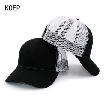 ... de algodón sólido camión tapa para los hombres y las mujeres negro  blanco verano gorra de béisbol de malla fresca Snapback papá sombreros envío  gratis 579c6d98d5d