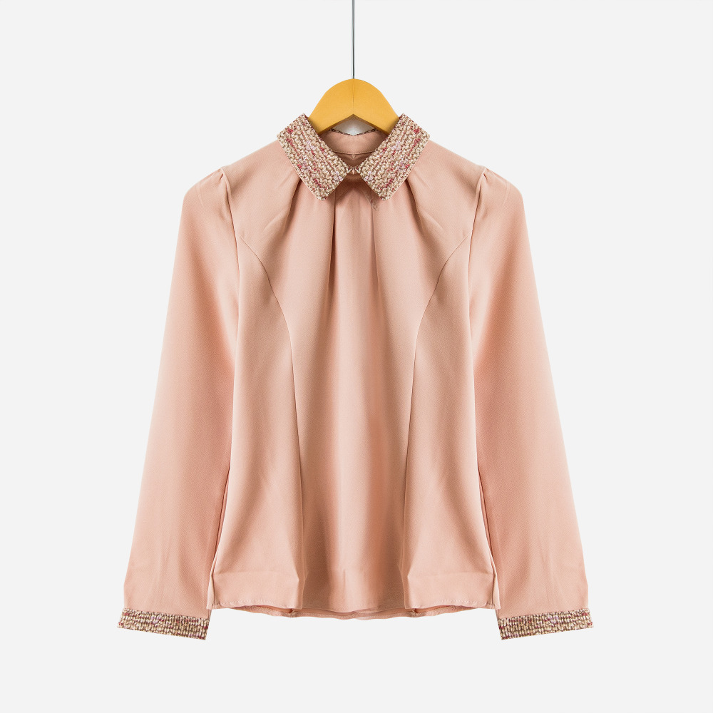 S-XXL New Fashion Women Long Sleeve Chiffon   Blouse     Shirt   Peter Pan Collar Lantern Sleeve Women   Blouse   Tops T5O205