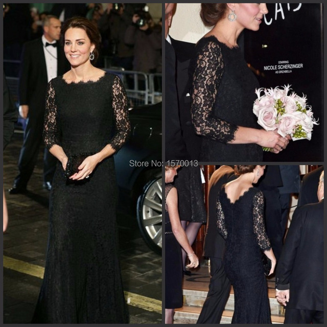 Black Lace Sheer Sleeves Celebrity Dresses Mermaid Kate Middleton Rani  Dress 2015 Red Carpet See Through Party 8cc5d3012801
