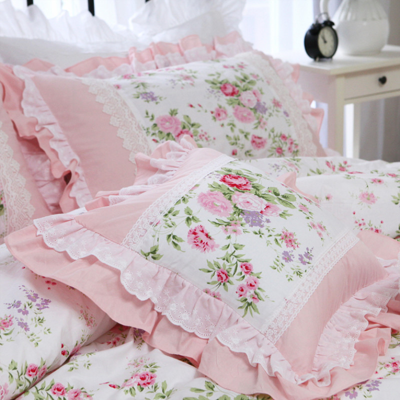 Elegant Ruffle Lace Decorative Pillowcase European Embroidery Bed Pillow Case Princess Rose Print Cushion Cover Sofa Cushions
