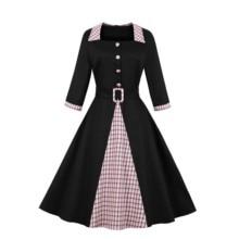 Women's 3/4 Sleeves Belt Plaid Patchwork Square Neck Vintage Work Dress