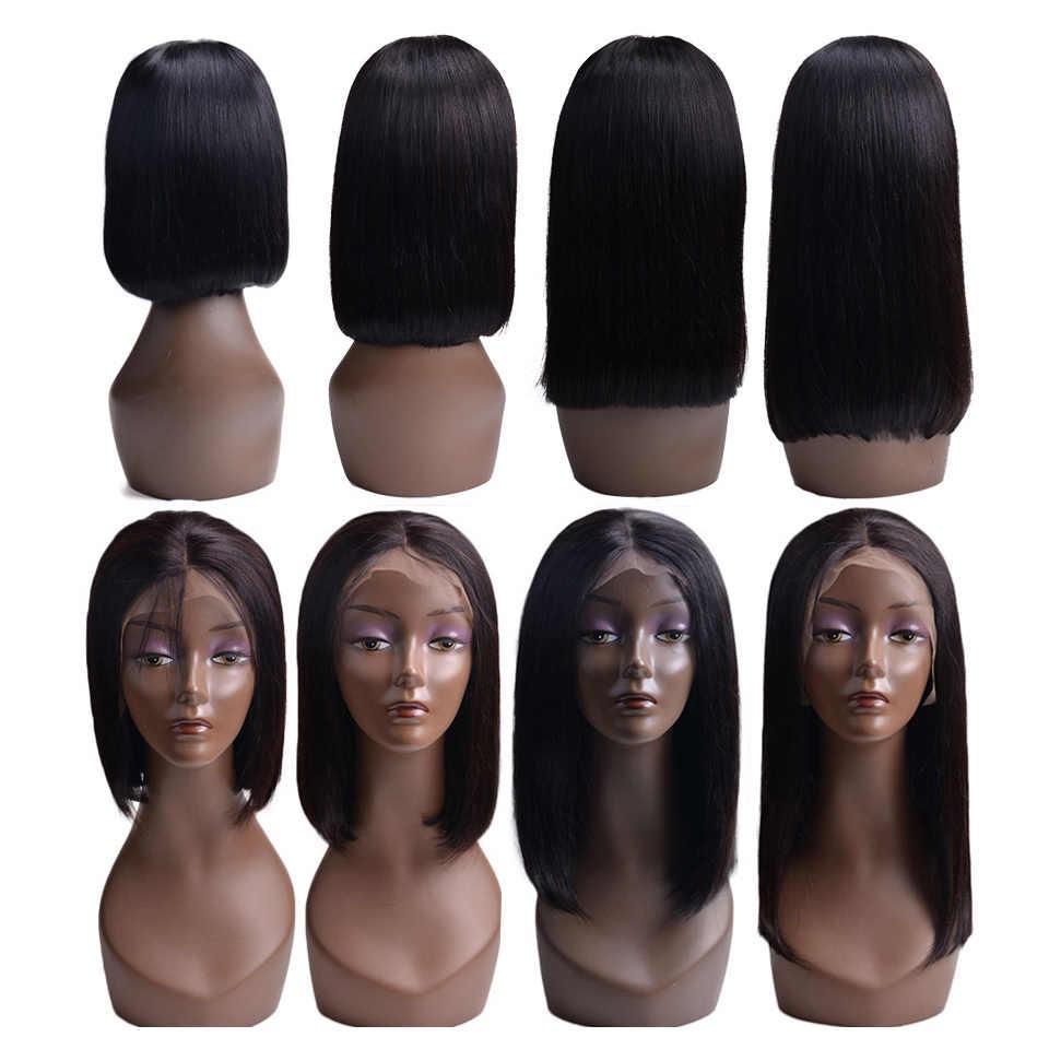 Короткие человеческие волосы боб парики бразильские кружева передние человеческие волосы парики для черных женщин Remy прямой парик фронта шнурка 150% 4x4 парик закрытия