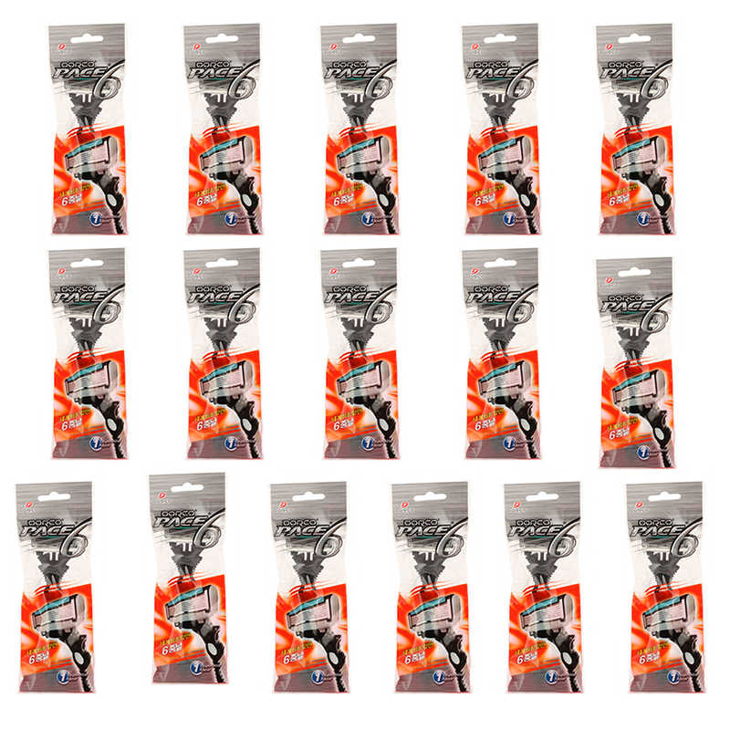 16pcs/lot Original DORCO Best Shaving for Man PACE 6 Layers Razor Blades Beyond Gillettee Fusione Blade for Men Face Care