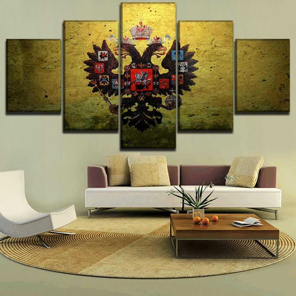 Modern Canvas Paintings Wall Art HD Printed Modular Pictures Home Decor Framework 5 Pieces Russian Empire Artistic Flag Poster